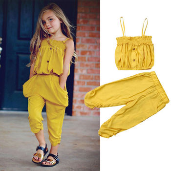 Toddler Kid Baby Girl Clothes Sling Top Long Pants 2Pcs Outfits Sets 1-5Y