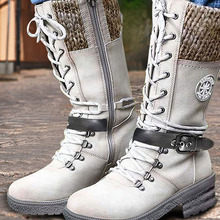 Women Mid-Calf Boots 2020 Winter Warm Punk Boots Side Zipper Boots Outdoor Non-Slip Boots Knitted Patchwork Ladies Booties Mujer