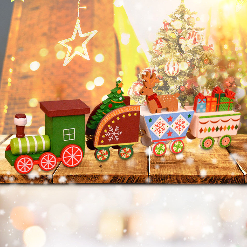 Xmas Wooden Christmas Train Santa Claus Festival Ornament Home Decor Decoration Kids Gifts Kids Toys Juguetes Brinquedos игрушки