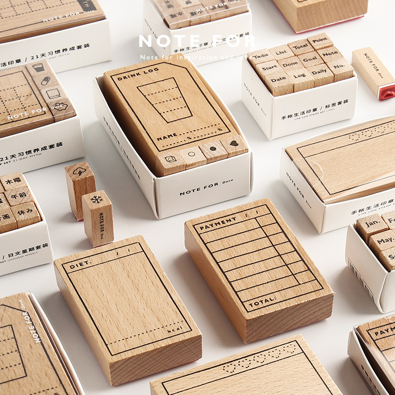Vintage Week Payment Diet Record Planner Stamp DIY Wooden Rubber Stamps For Scrapbooking Stationery Scrapbooking Standard Stamp