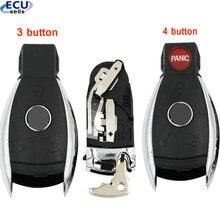 3/4 botão inteligente chave escudo para mercedes benz w211 a c e g s r sl ml gml cl cls cla clk slk glk com suporte de bateria pequena chave
