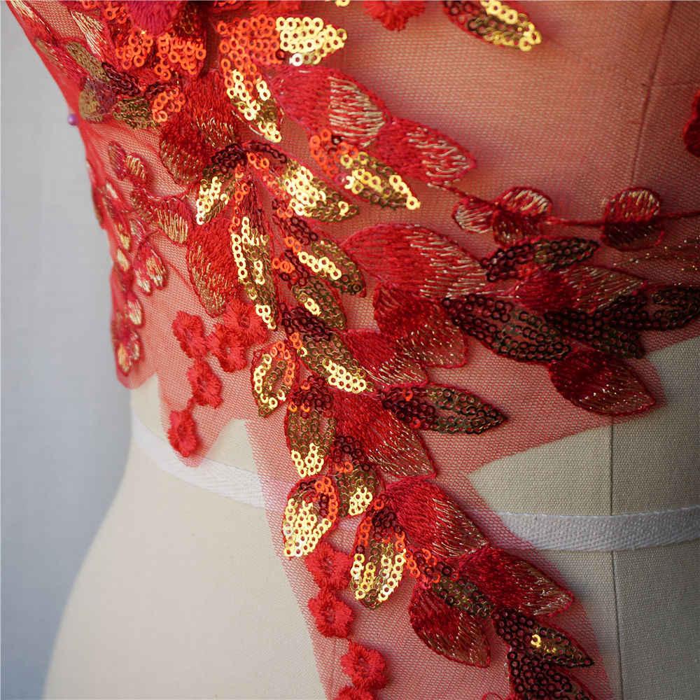 Rojo 3D flor encaje tela oro lentejuelas bordado vestido apliques cuello tul malla coser parche para la decoración de la boda Vestido DIY