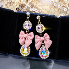 цена на 1 pair girls fashion earrings women crystal water drop earrings fashion jewelry wedding pierced dangle earrings