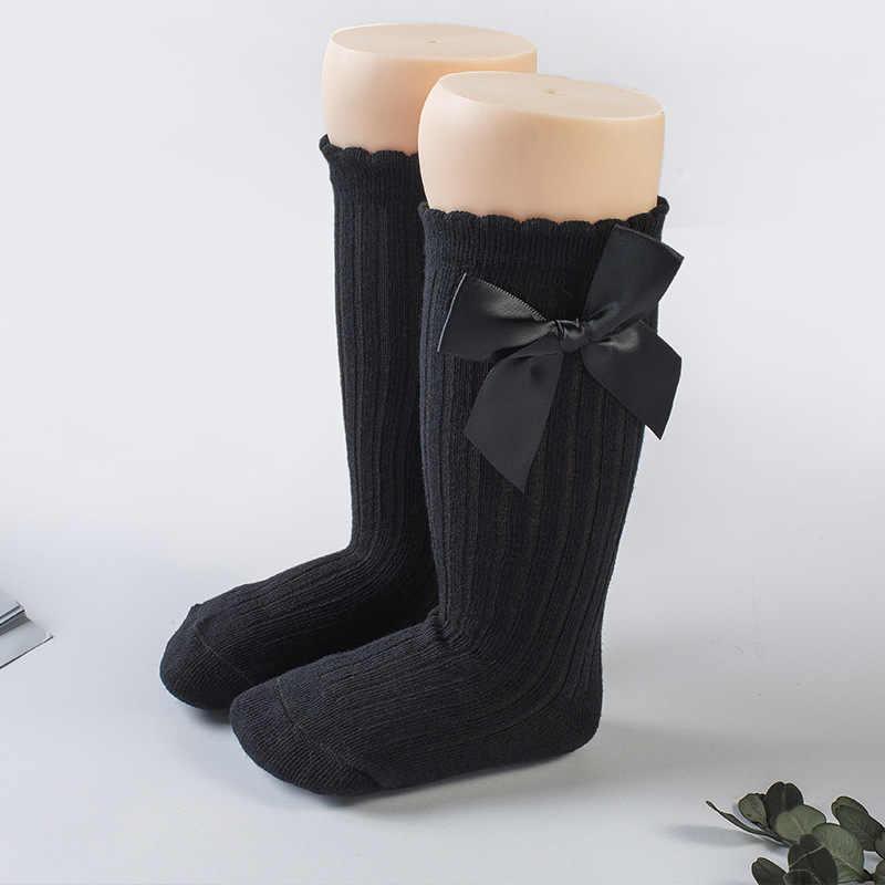 Носки для малышей Гольфы с большим бантом для маленьких девочек, мягкие хлопковые нескользящие кружевные носки для малышей теплые зимние носки принцессы для малышей
