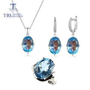 Big size sky niebieski topaz kamień zestaw biżuterii owalny cut 10*14 wisiorek kolczyk 12*16mm pierścień 37ct prawdziwy kamień biżuteria ze srebra próby 925