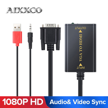 AIXXCO Quality Portable Plug and play VGA To HDMI Output 1080P HD Audio TV AV HDTV PC Video Cable VGA2HDMI Converter Adapter