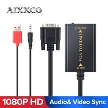 Jakość AIXXCO przenośna wtyczka i odtwarzanie VGA na wyjście HDMI 1080P HD Audio TV AV HDTV kabel wideo do komputera konwerter VGA2HDMI