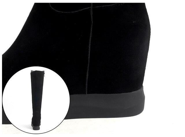 Ботинки женские замшевые на танкетке с круглым носком молнии