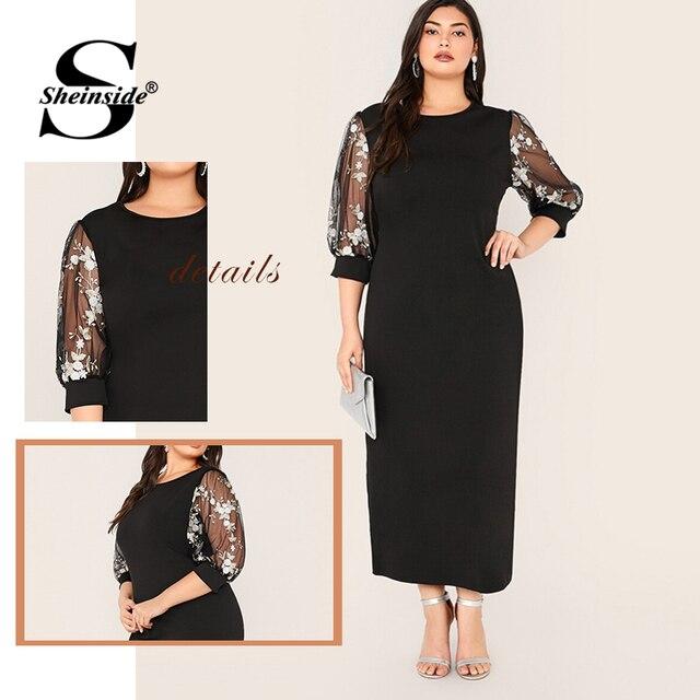 Sheinside Plus Size Black Elegant Contrast Embroidery Mesh Dress Women 2019 Autumn 3/4 Sleeve Straight Dresses Ladies Maxi Dress 5