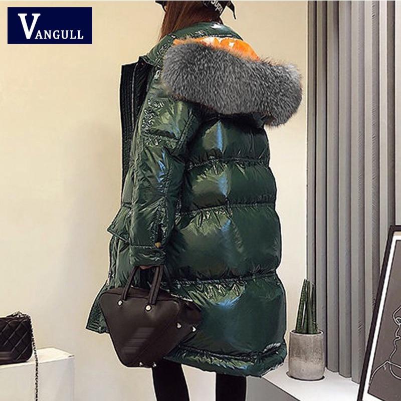 Vangull Glossy Women Winter Jacket Big Fur Collar Winter Coat Women Long Down Parka Lady Hooded Parkas Warm Cotton Jackets Slim