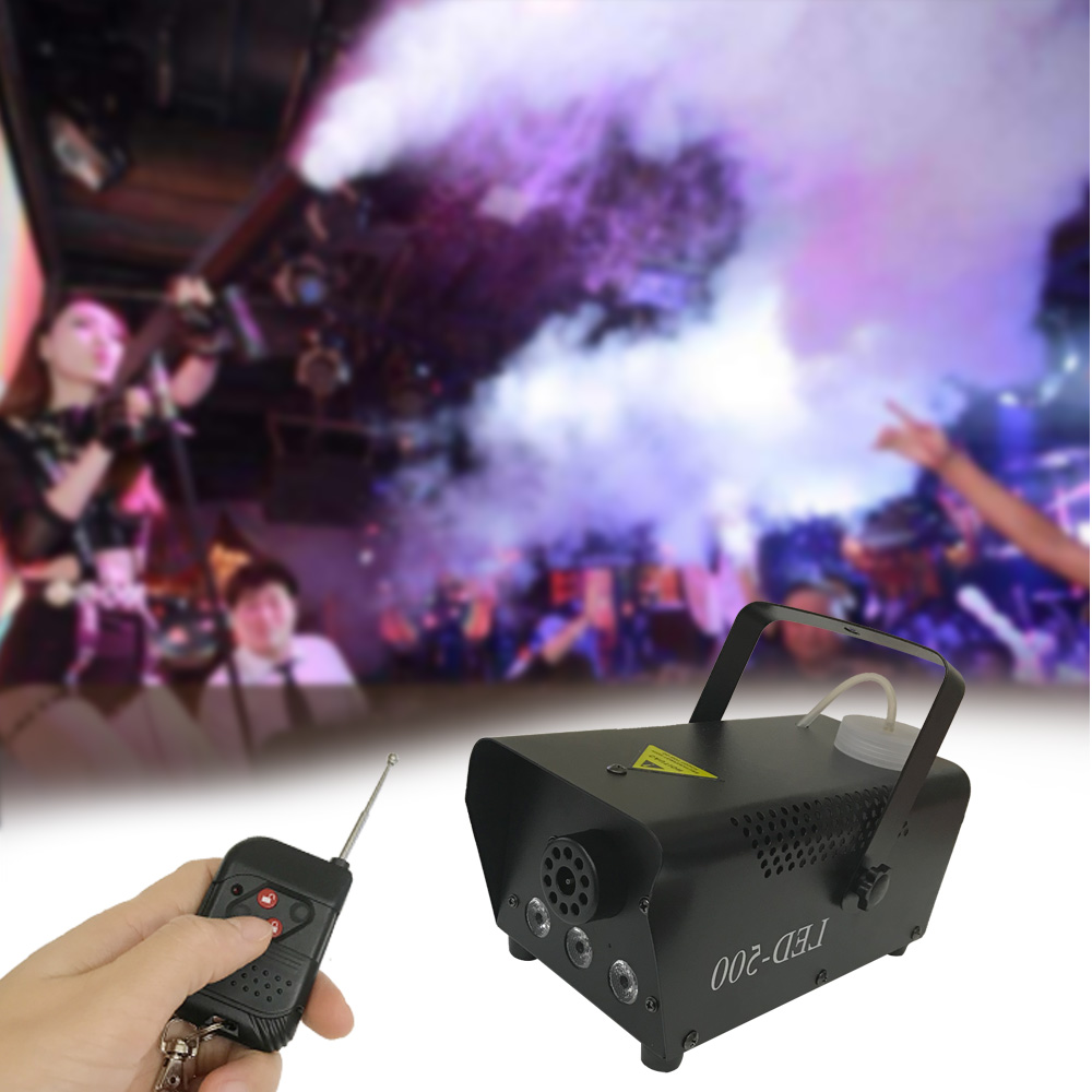 Upgrade Version LED-500 Fog Machine Wireless Control 500W DJ Party Stage Light RGB Color Select Disco Home Party Smoke Machine