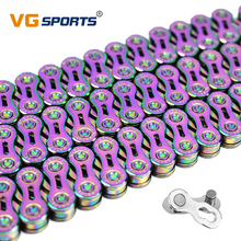 VG Sports 9 10 11 speed Bicycle chain bike chain half hollow mountain road bike chains 9 10 11S ultralight 116L colorful MTB