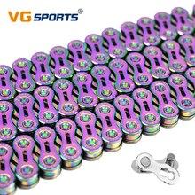VG Sports 9 10 11 цепь для скоростного велосипеда, велосипедная цепь, полуполые цепи для горного велосипеда, 9 10 11 S, сверхлегкие 116L цветные MTB