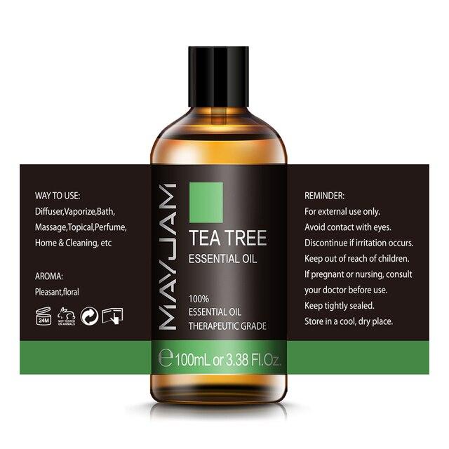 100ml Pure Natural Tea Tree Sandalwood Essential Oils Diffuser Plant Lavender Mint Vanilla Lemon Rose Eucalyptus Essential Oil 3