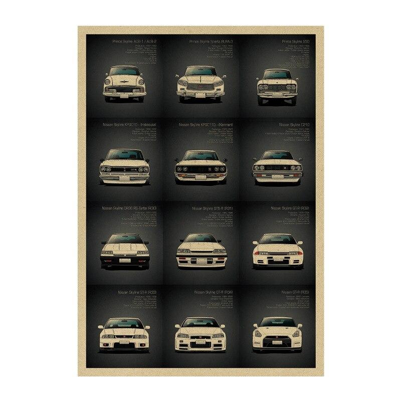 1434 знаменитый родстер/автомобиль GTR набор 2/крафт-бумага/плакат для бара настенные наклейки/Ретро плакат/декоративная живопись 51x35,5 см