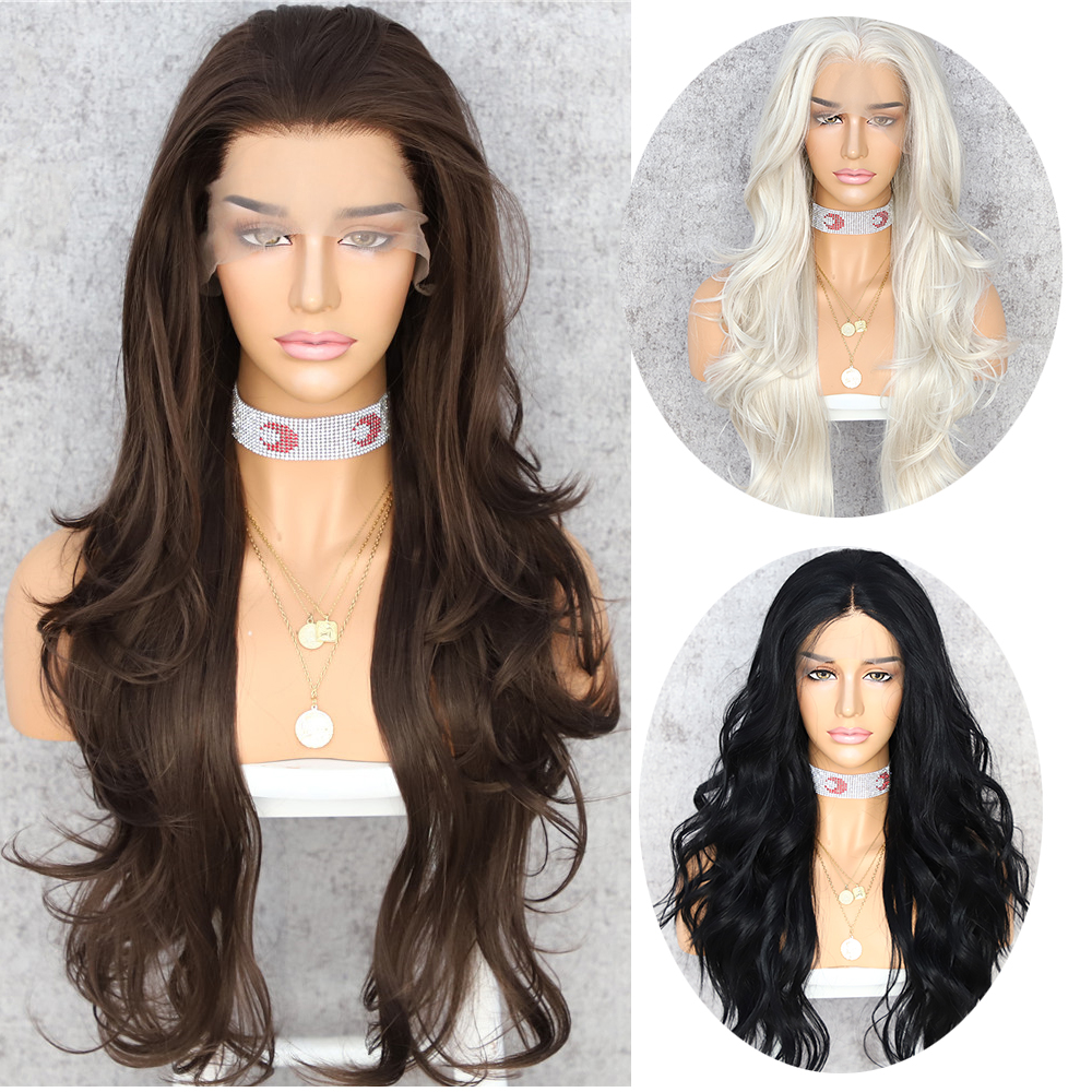 Lvcheryl Synthetic Lace Front Wigs for Women 13X3 Long Brown Color Natural Wave High Temperature Fiber Hair Wigs for Women