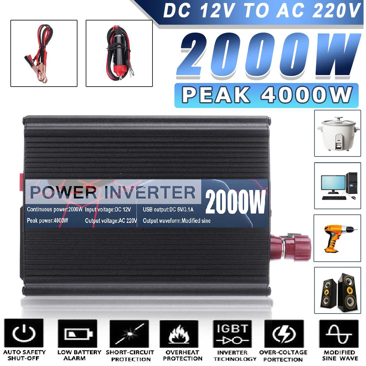 4000W DC 12V to AC 220V Dual USB Car Power Inverter Charger Converter Adapter DC <font><b>12</b></font> to AC <font><b>220</b></font> Modified Sine Wave Transformer image