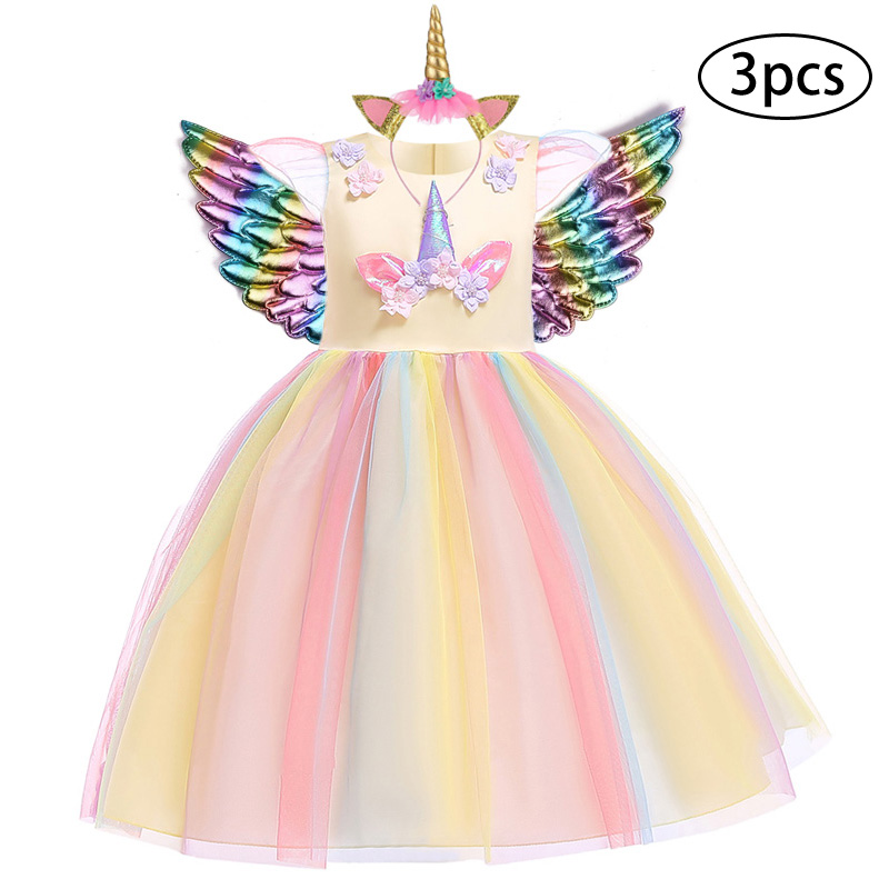 H3d4b59ff3cd04a1aaebe9810813752d1M New Girls Dress 3Pcs Kids Dresses For Girl Unicorn Party Dress Christmas Carnival Costume Child Princess Dress 3 5 6 8 9 10 Year