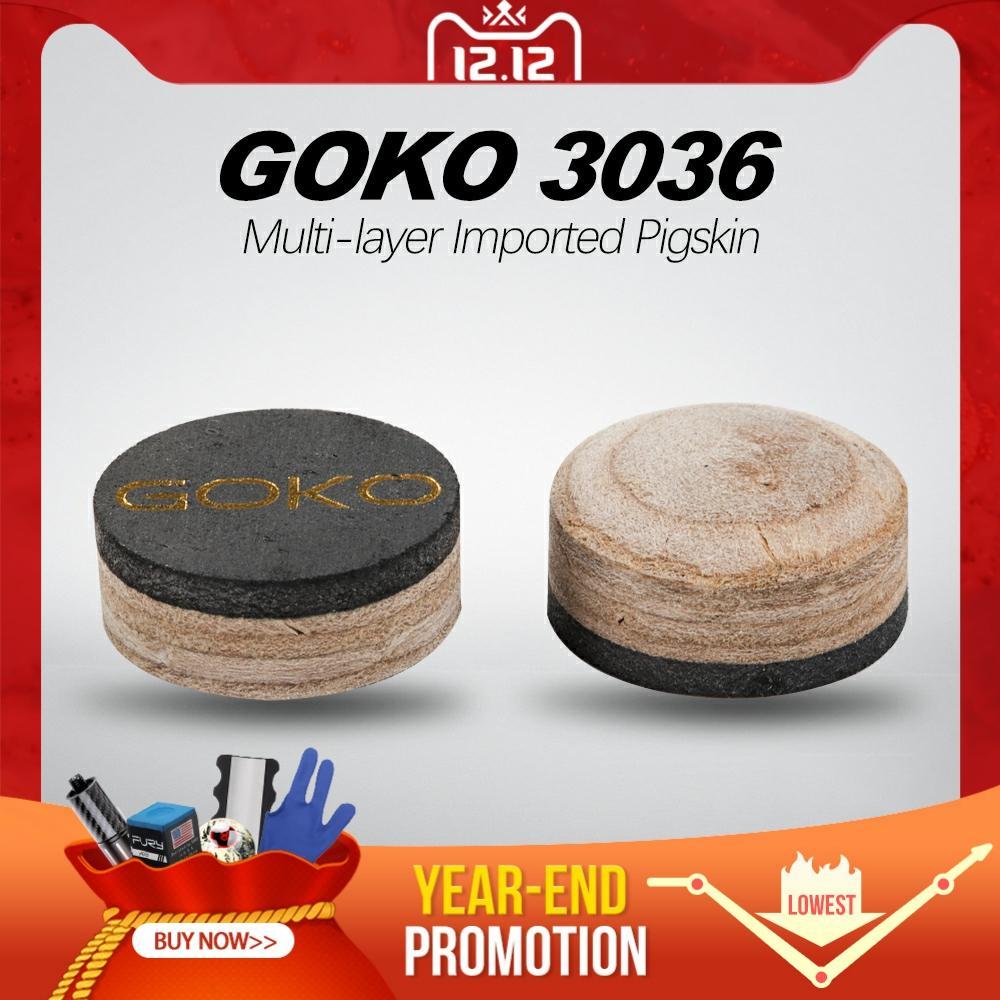 Отримати Goko 3036 Model Tip S / м / год Snooker Pool Cue 1. / 11.5 / 13 мм наконечники вибрані 6-7 шарів Свиняча шкіра багатошарові більярдні аксесуари