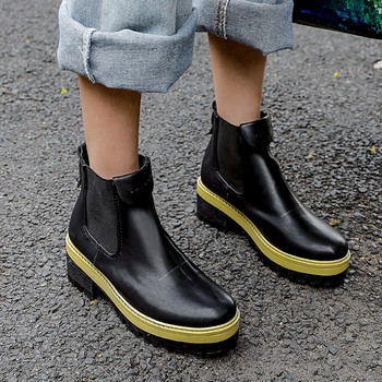 2019 Fashion Retro Autumn Punk Goth Chelsea Boots Sewing Black Yellow Square Thick Heels Ankle Boots for Women Shoes