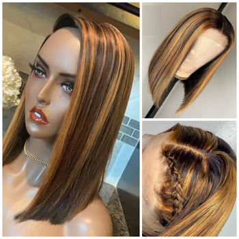 13*4 Ombre Blonde Highlight Remy Brazilian Straight BOB Wig 13×4 Lace Front Human Hair Wigs For Women Plucked Middle Ratio