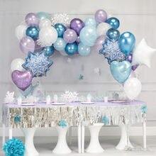 Globo de hielo de niña 35 Uds., juego de guirnaldas de copos de nieve de Navidad, Globos de aluminio, Globos de cumpleaños, suministros de fiesta de boda de invierno