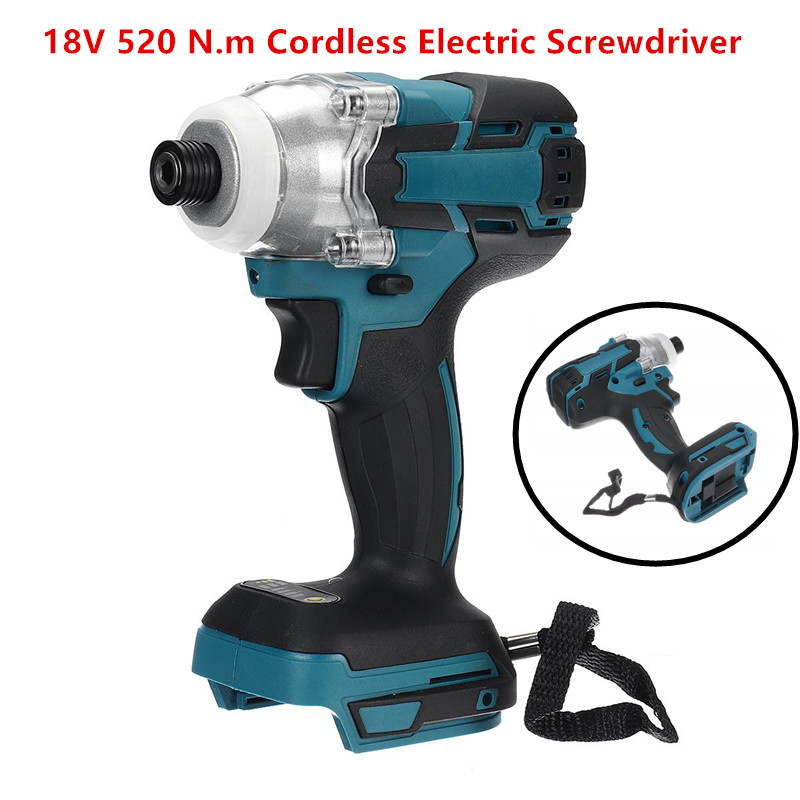 Cordless 18V 520 N.m Electric Screwdriver Speed Brushless Impact Wrench Rechargable Drill Driver LED Light For Makita Battery