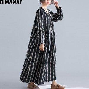 Image 5 - DIMANAF Plus Size Women Dress Winter Vintage Elegant Lady Vestidos Print Plaid Long Sleeve Female Clothes Loose Long Dress 2019