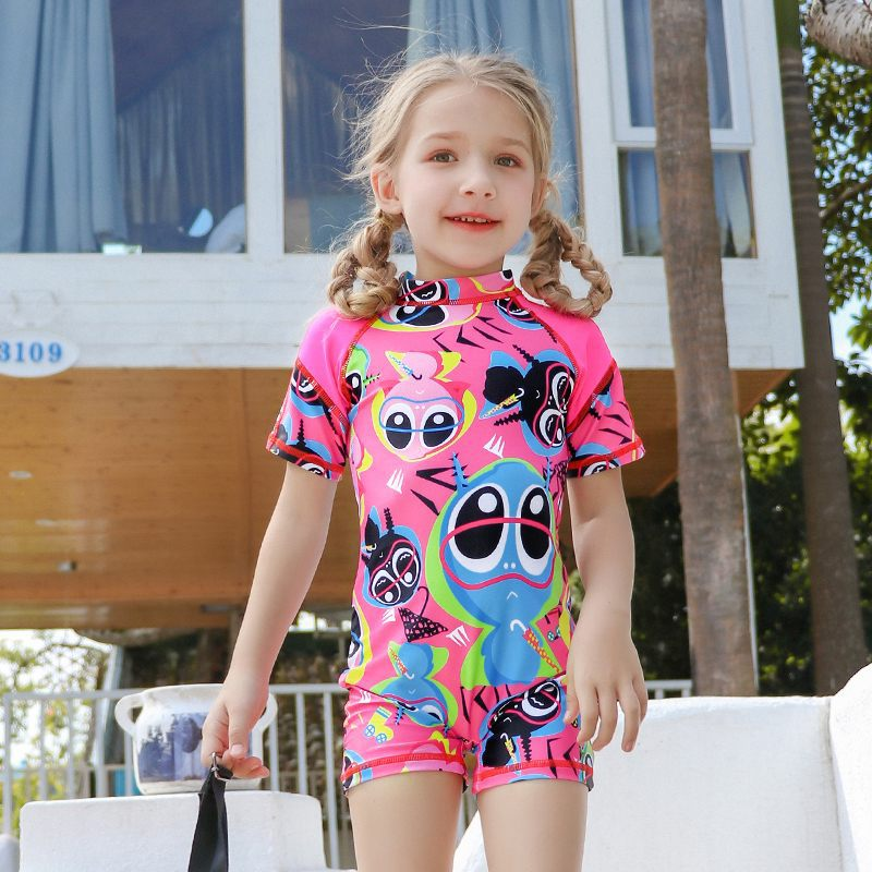 2019 New Style Hot Sales KID'S Swimwear Stand Collar Short Sleeve Shorts Cartoon One-piece Camisole Athletic GIRL'S Swimsuit