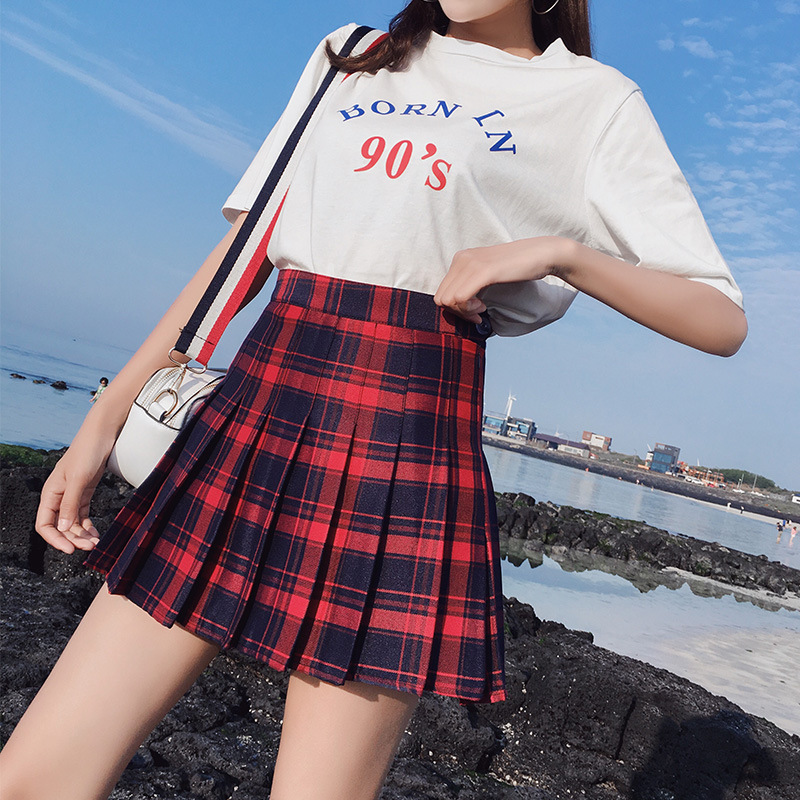 Photo Shoot Plaid Pleated Skirt A- Line High-waisted Slimming Short Skirt Anti-Exposure Pantskirt Skirt