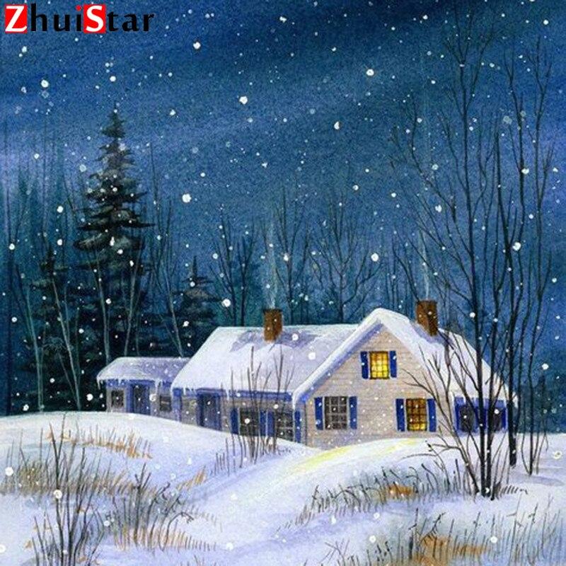 5D diament haft zima śnieg dom ściegu mozaika krajobraz pełna plac diament dekoracji domu DIY