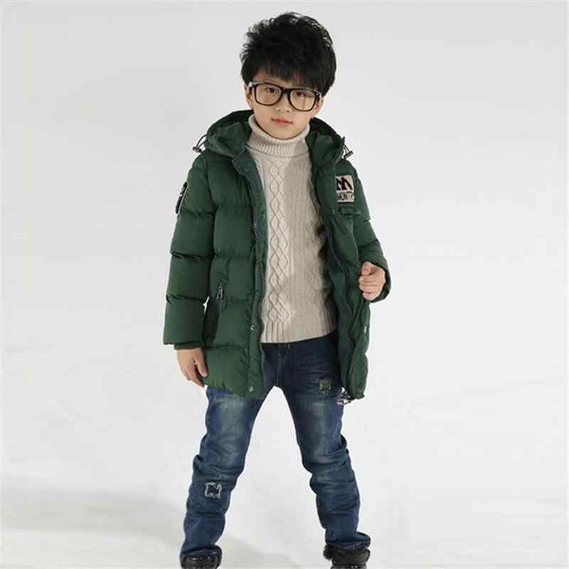 Mới Cho Bé mùa đông xuống Bộ áo khoác bé trai cotton áo khoác áo khoác trẻ em in chữ cotton quần áo Plus Nhung dày ấm hoodedcoat