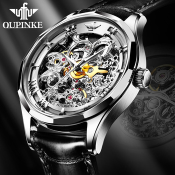 OUPINKE 2020 New Men Automatic Self-Wind Mechanical Watch Top Brand Luxury Skeleton Leather Waterproof  Sapphire Glass Watches kinyued luxury brand tourbillon automatic skeleton watch men mechanical moon phase self wind mens watches casual horloges mannen