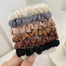 6 cores conjunto de laços elásticos cabelo cetim seda scrunchie rabo de cavalo cordas acessórios para cabelo feminino coreano acessórios para o cabelo novo