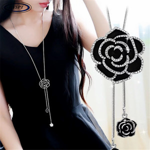 BYSPT Zircon Black Rose Flower Long Necklace Sweater Chain Fashion Metal Chain Crystal Flower Pendant Necklaces Adjusted(China)