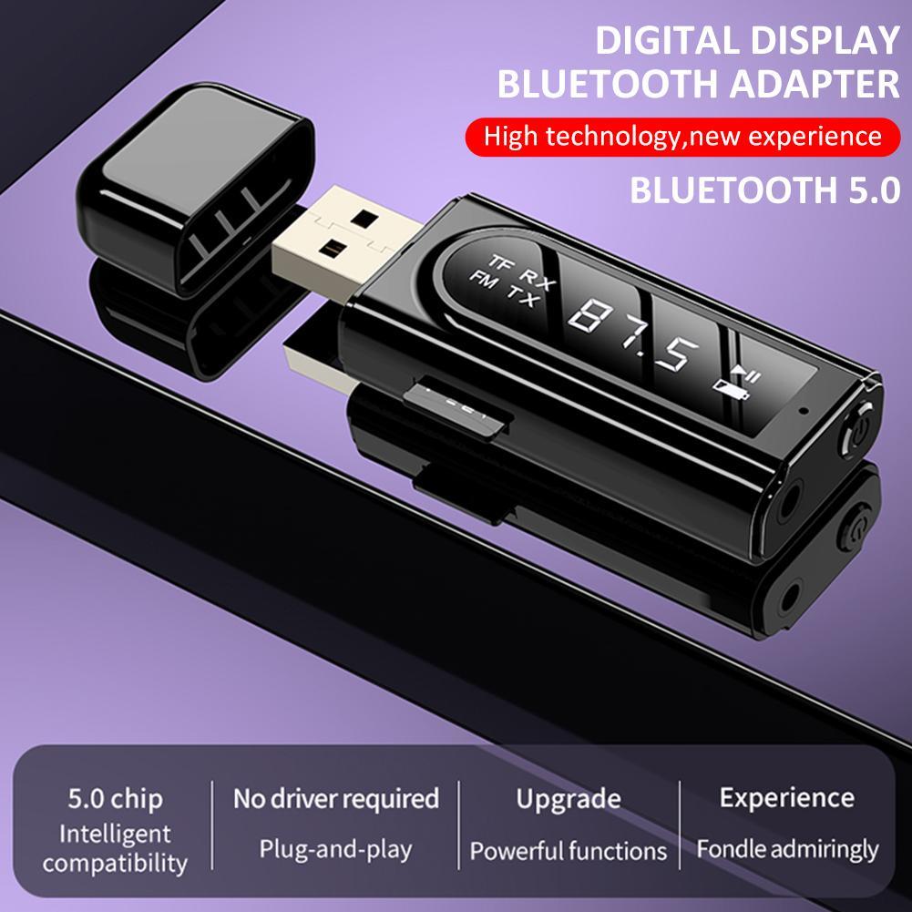 2-em-1 bluetooth 5.0 transmissor receptor carro led transmissor fm modulador tf leitor de cartão estéreo qualidade de som com microfone
