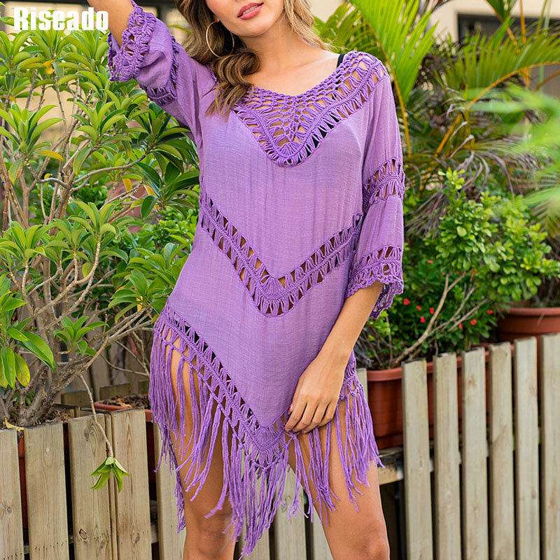 Riseado Tassel Bikini Cover-up Sexy Swimsuit For Women 2020 Long Sleeve Beach Dress Soild Cover Ups Purple Hollow Bathing Suits