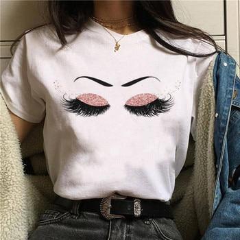 2020 Hot Harajuku Shiny eyelash Graphic T Shirt Women Eye shadow Grunge T-shirt Fashion Tshirt Ullzang Top Tee Female - 25278, XL