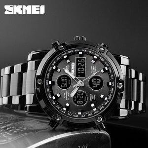 Image 3 - אופנה גברים של שעוני יד SKMEI שעון ספורט דיגיטלי צמיד 3 זמן ספירה לאחור Mens שעון נירוסטה שעונים זכר עסקים