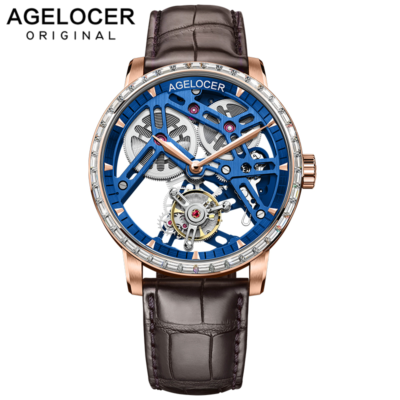 AGELOCER Swiss Tourbillon Watch Men Sapphire Blue Skeleton Dial Top Brand Luxury Mechanical Hand Wind Mens Tourbillon Watches