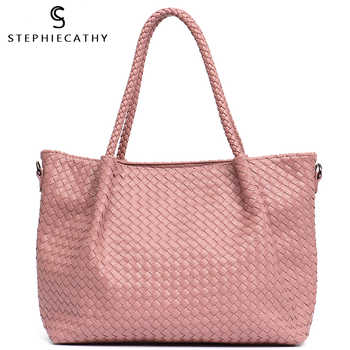 SC Women PU Leather Casual Handbags Handmade Woven Tote Bag Female Vintage Shoulder Bag Retro Large Capacity Messenger Bags - DISCOUNT ITEM  42% OFF All Category