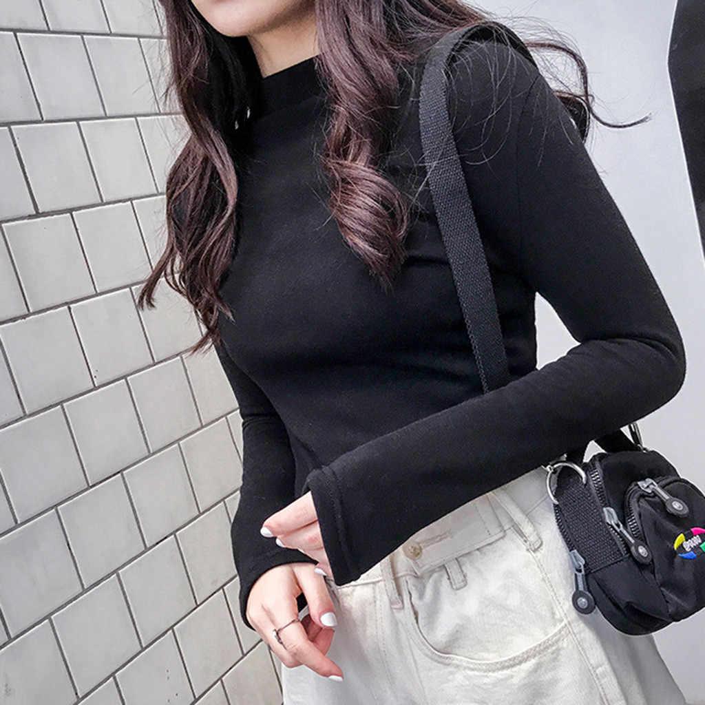 Feitong Musim Gugur Baju Musim Dingin Wanita Lengan Panjang Solid Pullover Turtleneck Hitam Beludru Baju Atasan Wanita Водолазка Женская