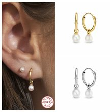 Luxury 925 Sterling Silver Drop Earrings Pearl Earring For Woman Girls CZ Hanging Pendientes Brincos orecchini Fine Jewelry