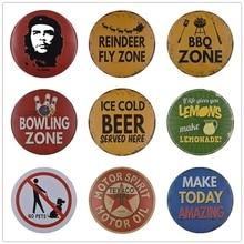 3D grabado redondo barbacoa cerveza Texaco Motor aceite Vintage Metal lata signos placa Retro Placa de Nostalgia regalo recuerdo para amigos Decoración