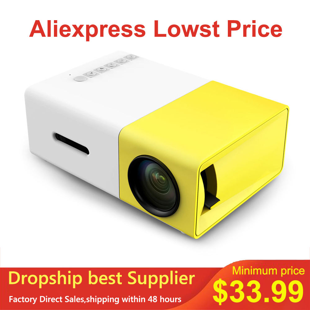 Dropship YG-300 Mini LCD LED Projector YG300 Projector 400-600LM 1080P Video 320x240 Pixel Best Home Proyector