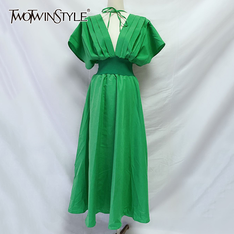 TWOTWINSTYLE Elegant Loose Dresses Female V Neck Short Sleeve High Wiast Ruched Midi Summer Dress Women Fashion Clothes 2020 New