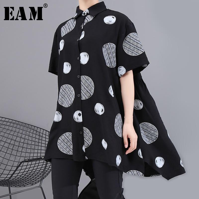 [EAM] Women Black Dot Printed Big Size Irrgular Blouse New Lapel Half Sleeve Loose Fit Shirt Fashion Spring Summer 2020 1U914