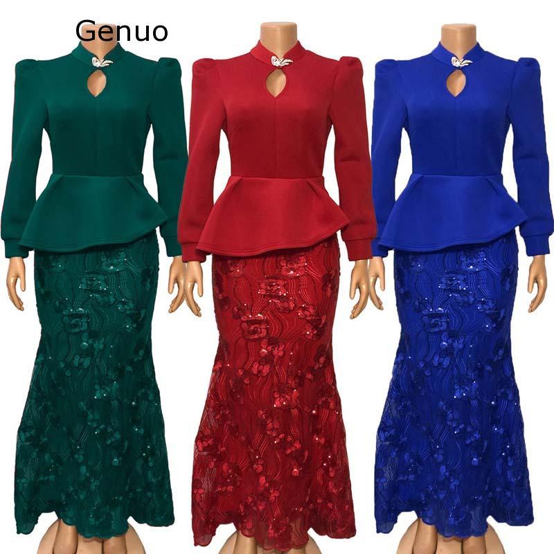 Sequins Embroidery Bodycon Dress Women African Clothes Evening Party Dress Long Sleeve Ruffles Fishtail Long Dress Autumn Winter