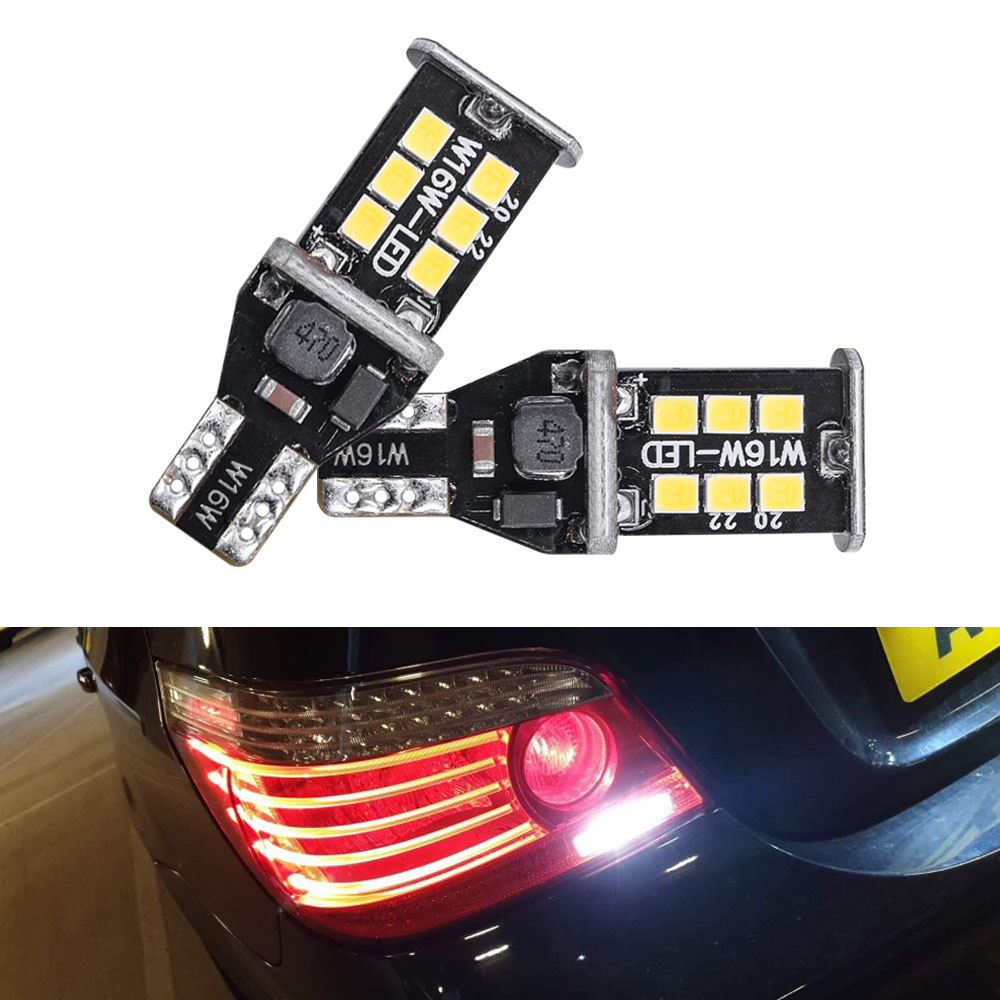 2x T15 Bulbs 15smd W16W Reverse LED White 6000K Canbus VW Scirocco 3 MK3 08-13