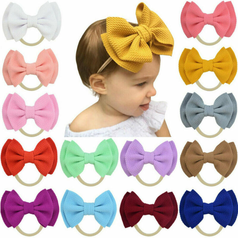 Double Layer Bow Solid Headband Children Girls Bow Knot Headbands Elastic Hairband Soft Turban Headwrap Baby Hair Accessories